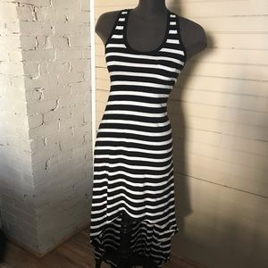 Express Black and White Striped Hi Low Dress